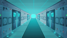 Corridor In A Spaceship.Vector Cartoon Background Interior Room Sci-fi Spaceship. Background For Games And Mobile Applications.