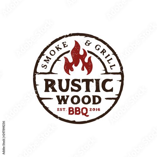 Fototapeta Vintage Retro Rustic BBQ Grill, Barbecue, Barbeque Label Stamp Logo design vector obraz