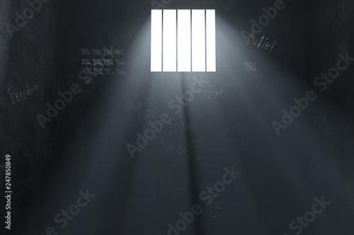 Fotografie, Obraz  Alte voll gekritzelte Gefängniszelle im Lichtschein. 3D Rendering