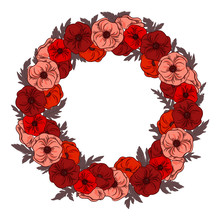 A Large Wreath Of Different Poppies With Leaves. Isolate On White. Red Poppy Floral Botanical Flower. Frame Border Ornament Round.Flower Pattern.