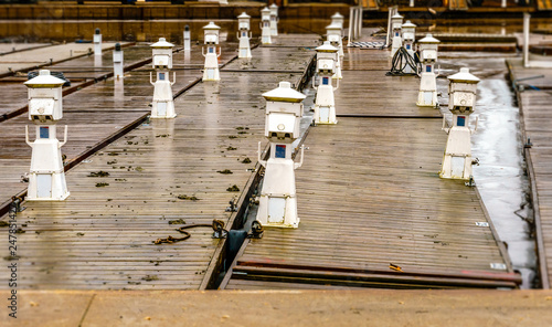 Floating docks, piers, with electrical pedestals are