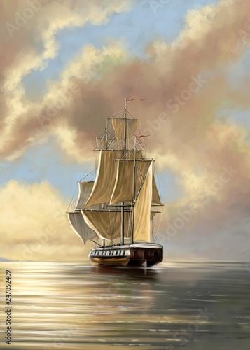 In de dag Schip Paintings sea landscape, fine art, old ship on the sea