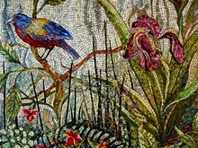 Mosaic Art Of A Blue & Golden Bird