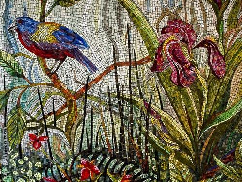 Photo  Mosaic Art of a Blue & Golden Bird