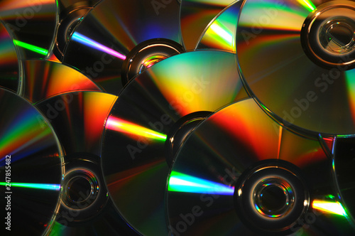 close-up on CD and DVD diskettes - 247855482