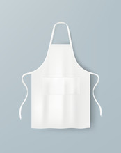 White Blank Kitchen Cotton Apron Isolated. Protective Apron Uniform For Cooking. Vector Illustration