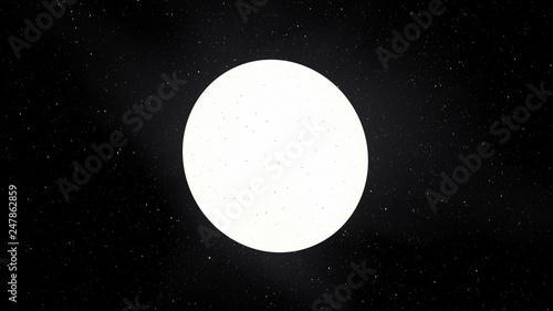 Fotografie, Tablou Exoplanet 3D illustration sunwhite star Sirius with spots against a black sky (E