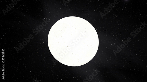 Exoplanet 3D illustration sunwhite star Sirius with spots against a black sky (E Tablou Canvas