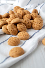 Homemade Almond Cookies On Cloth, Side View. Selective Focus.