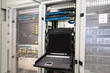 Modern server computer with a connected display in the data center