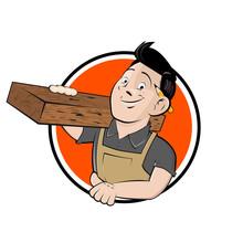 Funny Cartoon Sign Of A Happy Carpenter