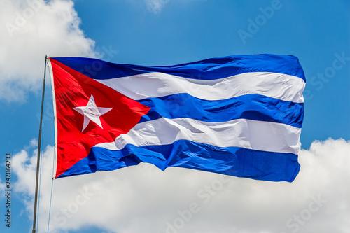 Cuban flag waving on the air Canvas Print