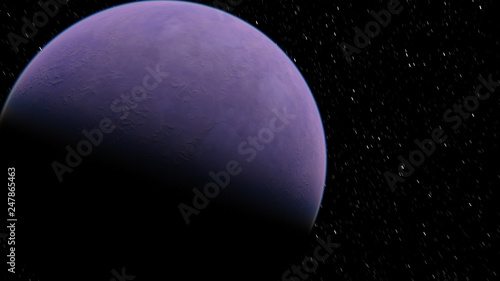 Photo  Exoplanet 3D illustration planet lilac on a background of black sky (Elements of