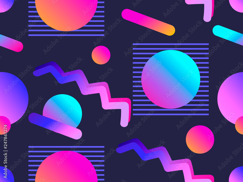 Memphis seamless pattern with gradient shape in the style of 80s. Synthwave, futurism background. Retrowave. Vector illustration