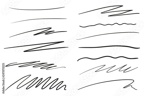 Fototapeta Hand drawn lettering underlines on white. Abstract backgrounds with array of lines. Stroke chaotic patterns. Black and white illustration. Sketchy elements for posters and flyers obraz na płótnie
