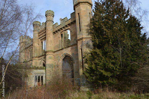 Photo The striking ruins of Crawford Priory, Springfield, Cupar, Fife, extended in early 19th century