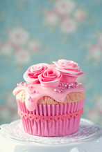 Cupcake With Pink Flowers