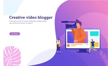 Creative Vlog Content Vector Illustration Concept, People Recording Content Video For Their Channel, Video Marketing, Can Use For, Landing Page, Template, Ui, Web, Mobile App, Poster, Banner, Flyer