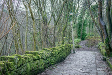 A Cobbled Road Or Lane With A Stone Wall With Moss Growing On It. A Slanted Or Leaning Street Light.