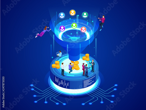Isometric online funnel generation sales, customer generation, digital marketing and e-business technology concept Canvas Print