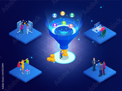 Photo  Isometric online funnel generation sales, customer generation, digital marketing and e-business technology concept