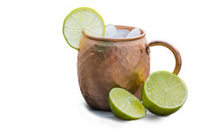 Copper Mug With Limes For A Moscow Mule Drink