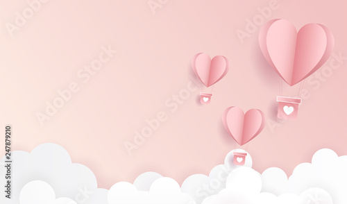 Fototapeta kuchenna Happy valentine day. Origami made hot air balloon flying on pastel pink background for copy space. minimal concept. Vector Illustration