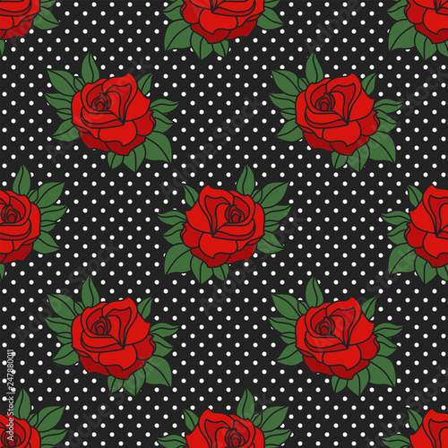 Rockabilly roses & polka dots seamless pattern Fotobehang