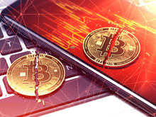 Two Cracked Golden Bitcoin Coins Laying Down. Cryptocurrencies Price Plummets. 3D Rendering