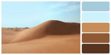 Picturesque Landscape Of Sandy Desert. Color Palette