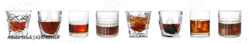 Poster Bar Set of glasses with expensive whiskey on white background