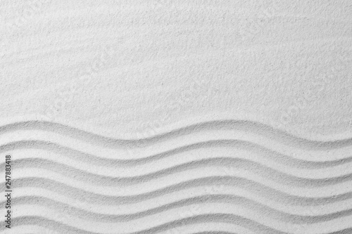 Foto auf Leinwand Spa Zen garden pattern on sand as background, top view with space for text. Meditation and harmony