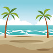beach palms landscape cartoon
