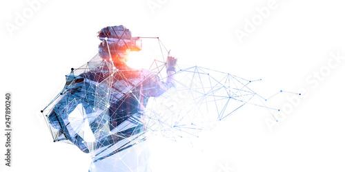 Obraz Experiencing virtual technology world. Mixed media - fototapety do salonu