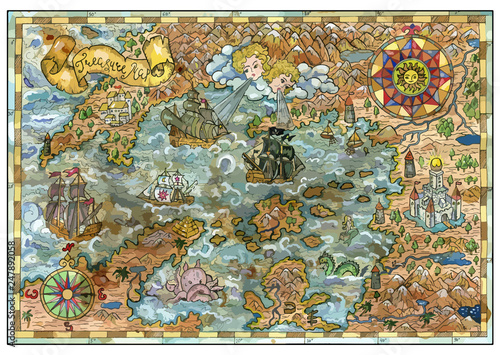 Fotografie, Obraz  Vector old map of fantasy lands with pirate ships, monsters, castles, treasure islands