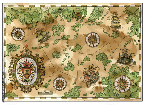 Foto Vector antique pirate treasures map with old ships, islands and compasses