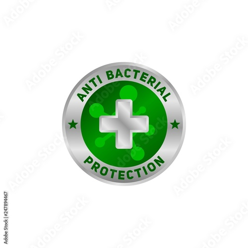 Photo Anti bacterial protection symbol, for your healthy product.