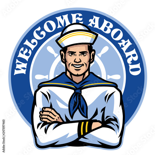 Leinwand Poster sailor badge design