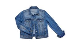 Blue Denim Jacket Isolated On White Background.