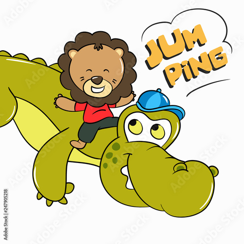 Fotografia, Obraz  Baby Lion and Crocodile Jump Together illustration - Vector