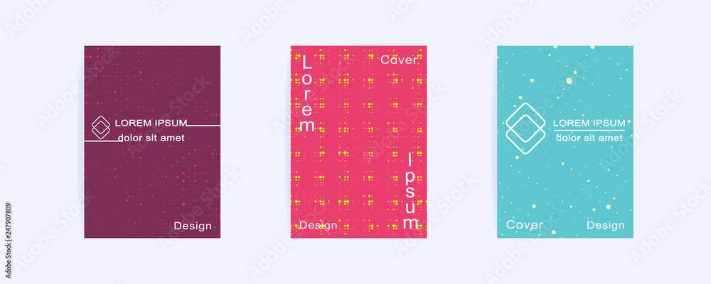 Fototapeta Cover layouts design with halftone dots. Mock up Cover Template for brochures, presentation, book, notebook, booklet, flyer, report, poster, album, magazine. Abstract geometric blue, pink backgrounds