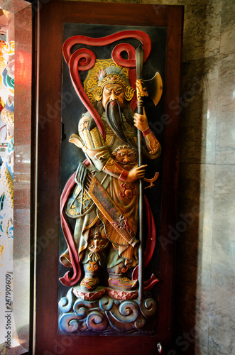 Türaufkleber Phantasie Chinese warrior god angel on door or door keeper for protection of chinese shrine at Wat Chong Lom temple in Samut Sakhon, Thailand