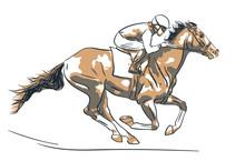 Jockey And Horse Is Racing.