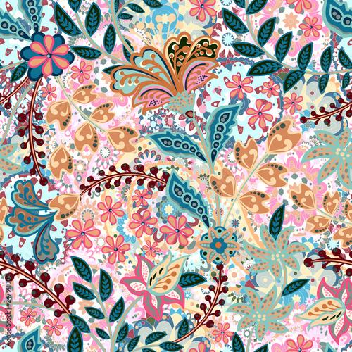Fototapeta Vector seamless pattern with hand drawn henna mehndi floral elements