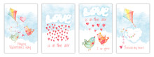 Valentines Day Card Set, Templates With Watercolor Kite, Love Kissing Birds, Hearts And Clouds. Hand Drawn Illustration, Childish Design Postcard Collection