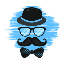 Happy Fathers Day Vintage Retro Composition Flat Style Design Vector Illustration Isolated On White Background. Male Hat, Glasses, Brush Stroke, Tie Bow And Mustaches - Symbols Of Super Dad.