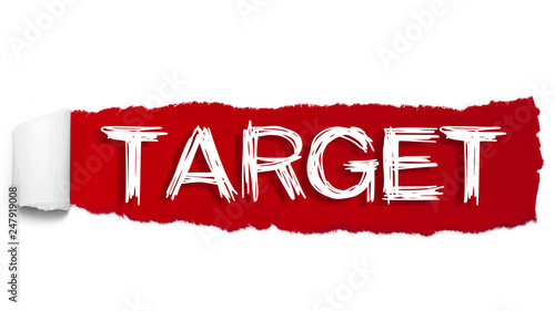 Photo  The word TARGET appearing behind red torn paper