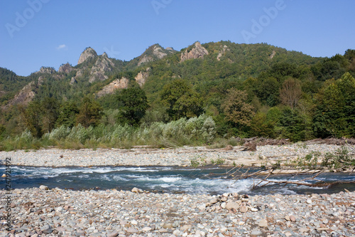 Beautiful landscape with river and mountains. The Belay river is in the North Caucasus,Krasnodar Krai