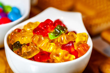 Close Up Of Sweet Gummy Bears Candy