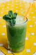 Green vegetable smoothie. Avocado smoothie, cucumber smoothie, spinach smoothie, non alcogolic mojito, detox. Summer concept